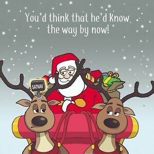 Merry Christmas Card with Sat Nav - Xmas Card - Funny Christmas Card -Lost Santa