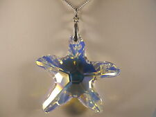 Italian Sterling Silver Chain, Clear Starfish Swarovski Element Necklace