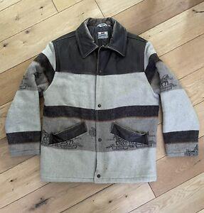 Men's Levi's Premium Wool Overshirt Button Up Popper Coat Jacket Size Small