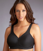GLAMORISE BLACK MEDIUM IMPACT WIRE-FREE SPORTS BRA, SIZE US 42F, NWOT