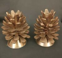 """Lot of 2 Vtg Solid Brass Pine Cone Candlestick Holders 3.5"""" India"""