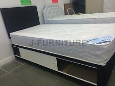 3ft Single Black Base Divan Bed With 22cm Deep Quilt Mattress+Storage+Headboard.