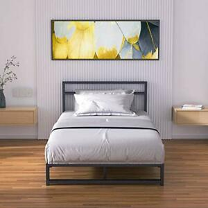 Metal Platform Bed Frame Size with Headboard Low Profile, Twin Low Bed-black