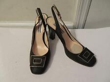 NWT WOMENS ANNE KLEIN BLACK STRAW DESIGNED GOLD HARDWARE ANKLE BUCKLE PUMPS-8N