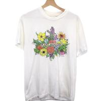 K178 Vintage Hanes Plant Manager Flower Graphic Tee Shirt White Men's M (38-40)