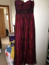 Brand New Tk Maxx Size 8 Decode Embellished  Purple Orange Strapless Maxi Dress