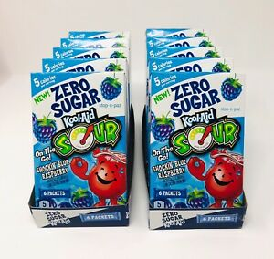 Kool Aid Sour Blue Raspberry Zero Sugar Singles To Go 10 Boxes (60 Packets)
