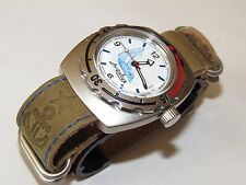 VOSTOK Russian military watch Amphibian. Genuine leather strap. AMPHIBIA 090615