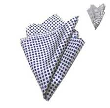 Fazzoletto da taschino uomo bianco a pois blu neri pochette di seta da giacca