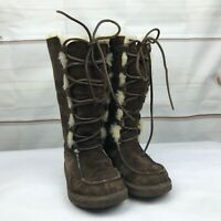 UGG Australia Womens Tall Whitley Suede Lace Up Sheepskin Boots Size 6 Brown
