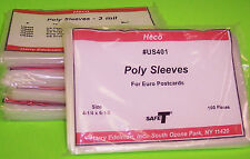 500 EUROPEAN, CONTINENTAL POSTCARD POLY SLEEVES, HECO SAFE-T #US401, 3 MIL THICK