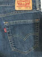 Levi's 34 x 30 511 Skinny Dark Rinse Flex Denim Jeans