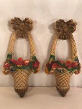 Vtg 2pc Chalk Carnival Prize 30-40's Shabby Roses Cottage Basket Wall Pocket Set