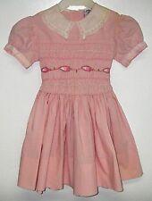 Vintage Girl's Lilliputian Bazaar Best & Co Hand Smocked DRESS Pink Size 6-7
