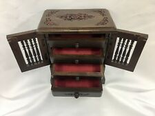 """9.5"""" x 8""""x 5"""" Wooden Cabinet Handmade Jewelry Box Carved 4 Drawer Accent Storage"""