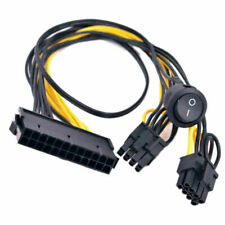 ATX 24 Pin to 2 Port PCIe 6+2 Pin 8 Pin 6Pin Power Cable Wire + On Off Switch jp