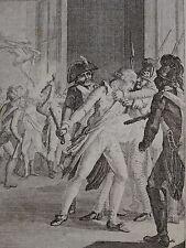 RARE Gravure XVIII miniature ARRESTATION ROBESPIERRE REVOLUTION CONVENTION 1794
