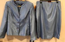 Jones New York Women's Crystal Blue Skirt and Jacket Suit, Sz 14 NEW BEAUTIFUL