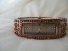 Chico's Watch Rectangular Face Copper Toned Cuff Band Sparkly Fashion WORKING!