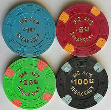 "$1, $5, $25, & $100 Big Al's Speakeasy ""Lot of 4"" - Las Vegas Casino Chips"