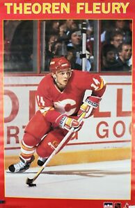 Vintage 1990 THEOREN FLEURY 34 x 22 Calvary Flames NHL Starline Poster RARE