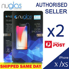 For iPhone XS Max XR X 8 + Front and Back Screen Protector Tempered Glass Nuglas