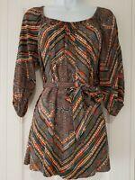 Womens Monsoon 3/4 Sleeve Multicolour Tie Waist Boho Hippy Blouse Top Small.