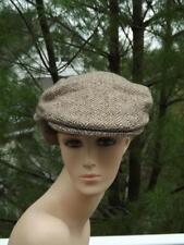 Hanna Hats Grey Herringbone Wool Newsboy Cap Chinstrap Medium L.L. Bean Ireland