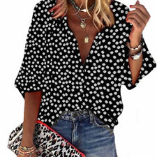 Womens Long Sleeve Shirt Tops Ladies Floral Loose Fit Button Down Casual Blouse