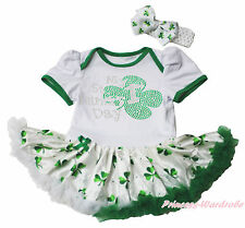 My 1ST St Patrick Day White Bodysuit Green Clover Girls Baby Dress Outfit NB-18M