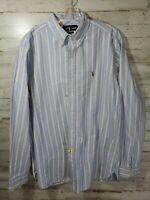 Ralph Lauren Button Down Mens L/S Shirt Large Classic Fit Blue Gold Striped