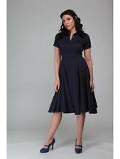 Collectif Vintage Mirtilla Plain Swing Dress Size 18 (2XL) Navy