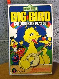 BIG BIRD incomplete vinyl Colorforms 1986 vtg beat-up toy Sesame Street banjo