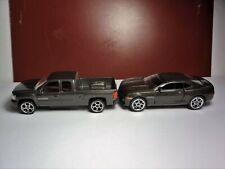 Majorette Chevy Pair 1:62 Camaro & 1:71 Silverado Charcoal Grey Loose Nice