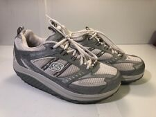 Sketchers Shape-Ups 11814 White Gray Leather Toning Shoes Women's Size 10 JDS
