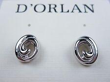 Lead and Nickel Free 0423 D'Orlan Rhodium Plated Pierced Earrings -