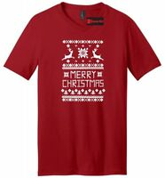 Merry Christmas Mens V-Neck T Shirt Reindeer Ugly Sweater Xmas Party Gift Tee