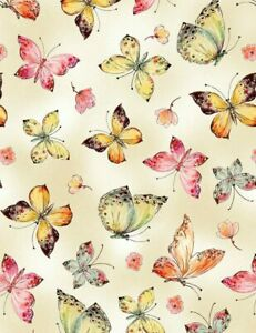 """CLEARANCE! 28"""" REmnant Alice Kennedy Digitally Printed Cotton Fabric Butterflies"""