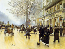 Jean Beraud - The Boulevard at the Cafe Tortoni - 24'  CANVAS