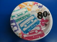 "80's Decades Totally Awesome Cassette Retro Theme Party 7"" Paper Dessert Plates"