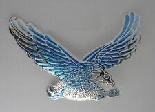 Sticker relief 3D autocollant  Aigle reflet bleu moto custom motard auto eagle