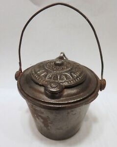 Circa 1870 Antique The Home Cast Iron Glue Pot Bottom Marked with Swastika