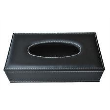 HU Boite de mouchoirs de papier en cuir PU noir 24*12*6.5cm