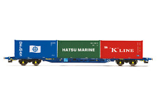 Hornby R6958 OO Gauge Tiphook, KFA Container wagon, 93390, with 3 x 20' containe