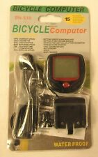 BICYCLE COMPUTER w/ 15 Functions, Waterproof, Speed, Distance,Time, Auto On/Off