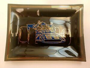 VINTAGE GLASS ASHTRAY MARK DONOHUE 66 SUNOCO INDY 500 PENSKE EAGLE RACE CAR