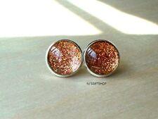 Glittering Warm Copper Stud Earring / Beautiful gift for her