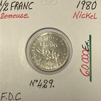 1/2 FRANC SEMEUSE - 1980 - Pièce de Monnaie en Nickel // FDC