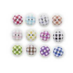 50pcs Grid Pattern Wood Buttons for Sewing Scrapbooking Cloth Making Decor 15mm