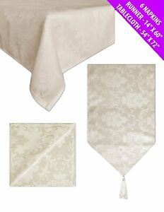 8PC New Damask Dining Table Cover Runner Napkins Set Cream Home Decoration Party